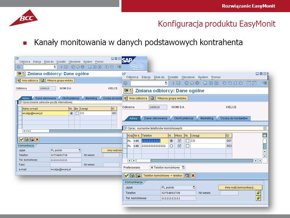 Rozwiązanie EasyMonit Konfiguracja produktu EasyMonit Kanały monitowania w danych podstawowych kontrahenta