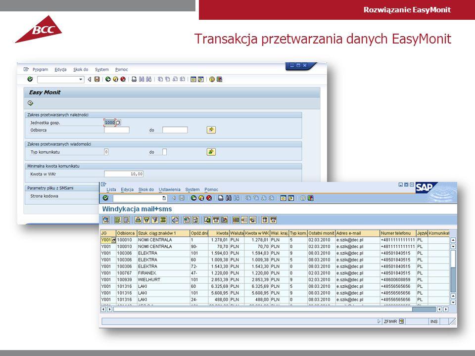 Rozwiązanie EasyMonit Transakcja przetwarzania danych EasyMonit