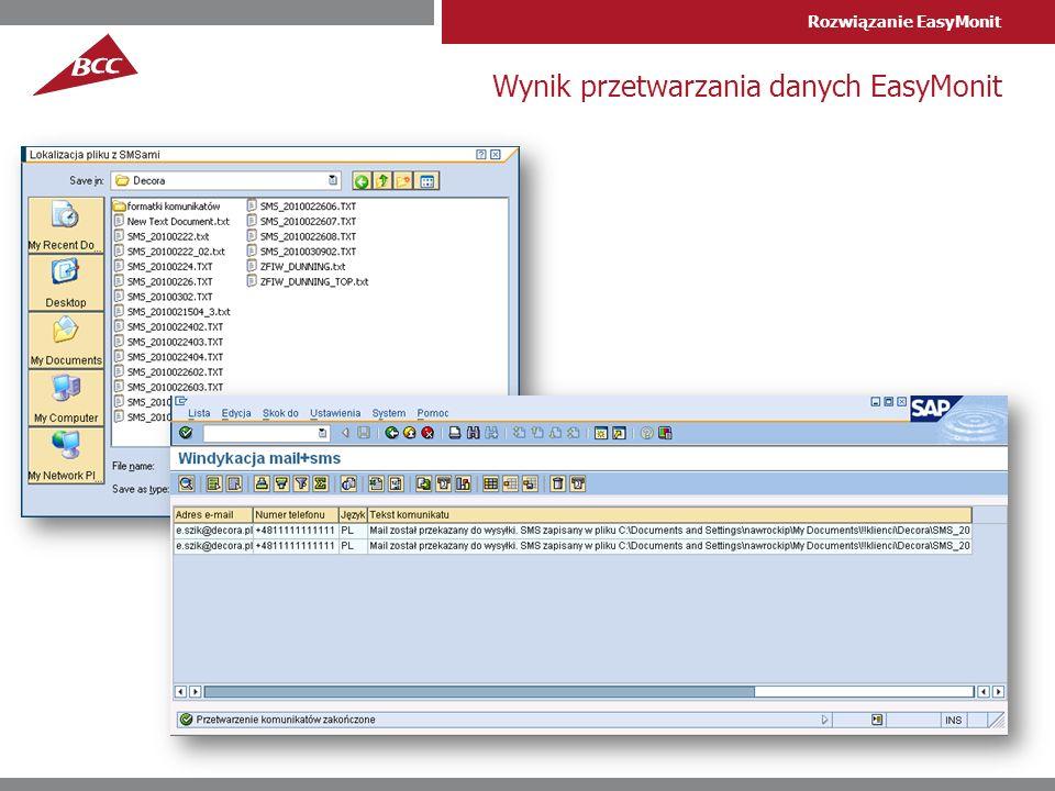 Rozwiązanie EasyMonit Wynik przetwarzania danych EasyMonit