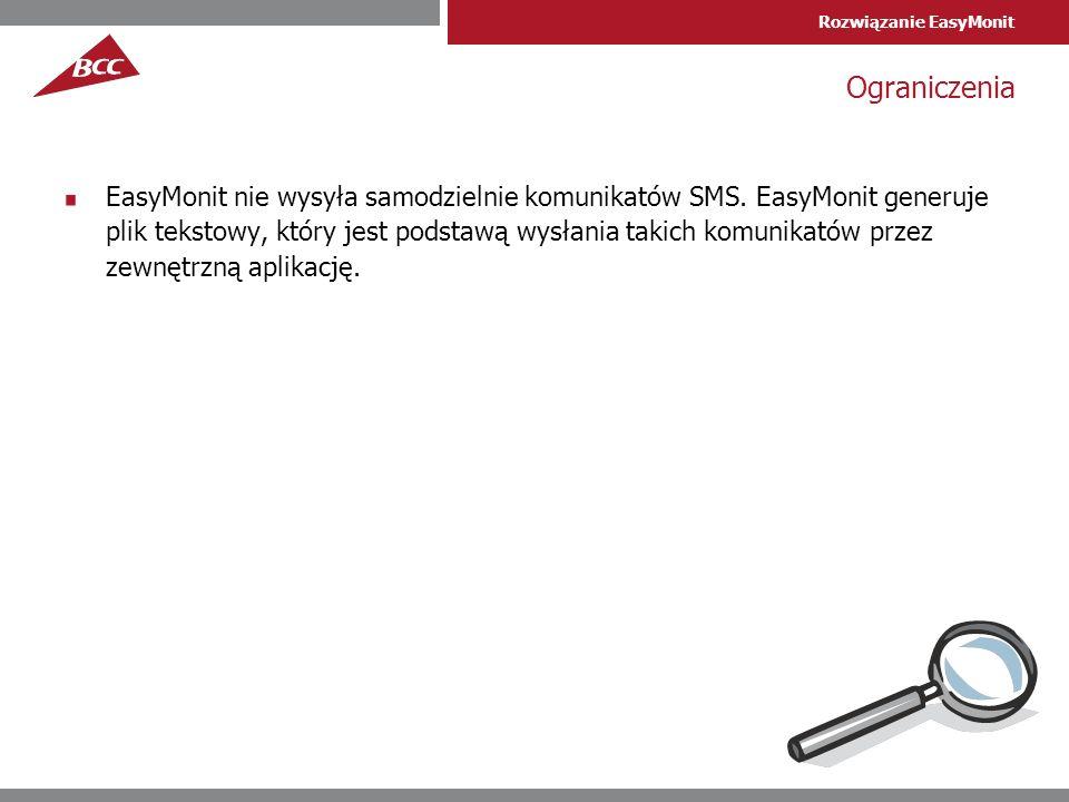 Rozwiązanie EasyMonit Ograniczenia EasyMonit nie wysyła samodzielnie komunikatów SMS.
