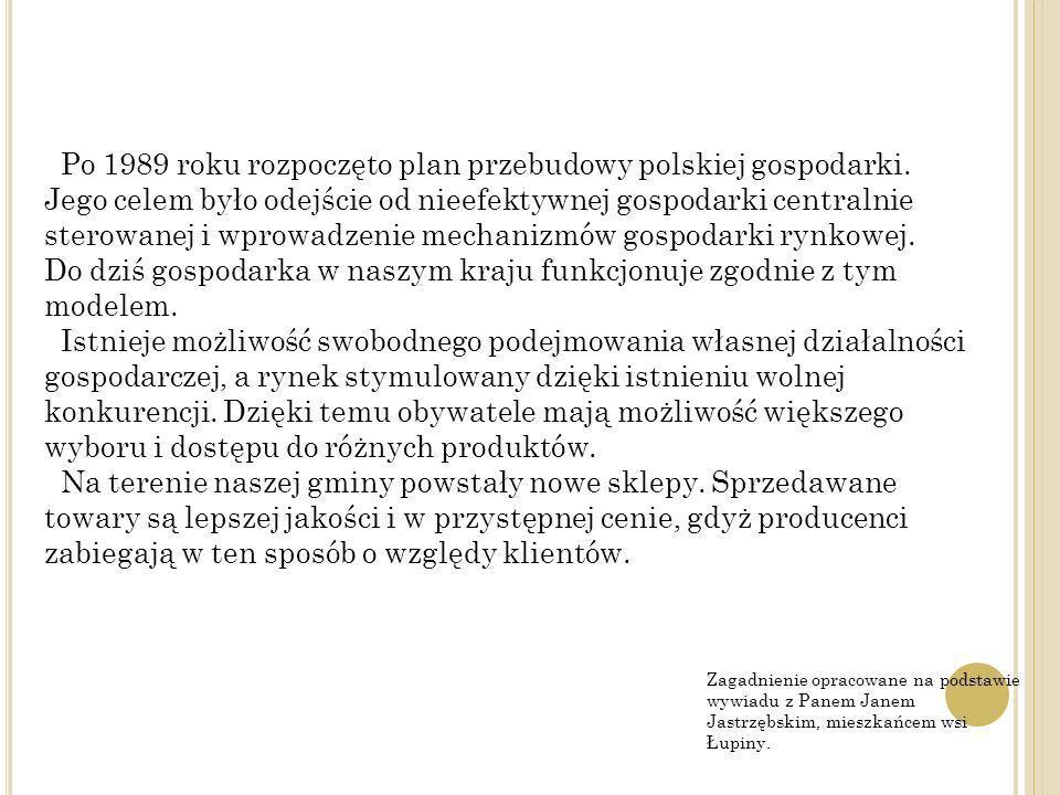 Zagadnienie opracowane na podstawie wywiadu z Panem Janem Jastrzębskim, mieszkańcem wsi Łupiny. Po 1989 roku rozpoczęto plan przebudowy polskiej gospo