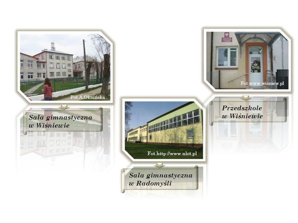 Sala gimnastyczna w Wiśniewie Fot.A.Oknińska Fot.http://www.nlot.pl Sala gimnastyczna w Radomyśli Przedszkole w Wiśniewie Fot.www.wisniew.pl