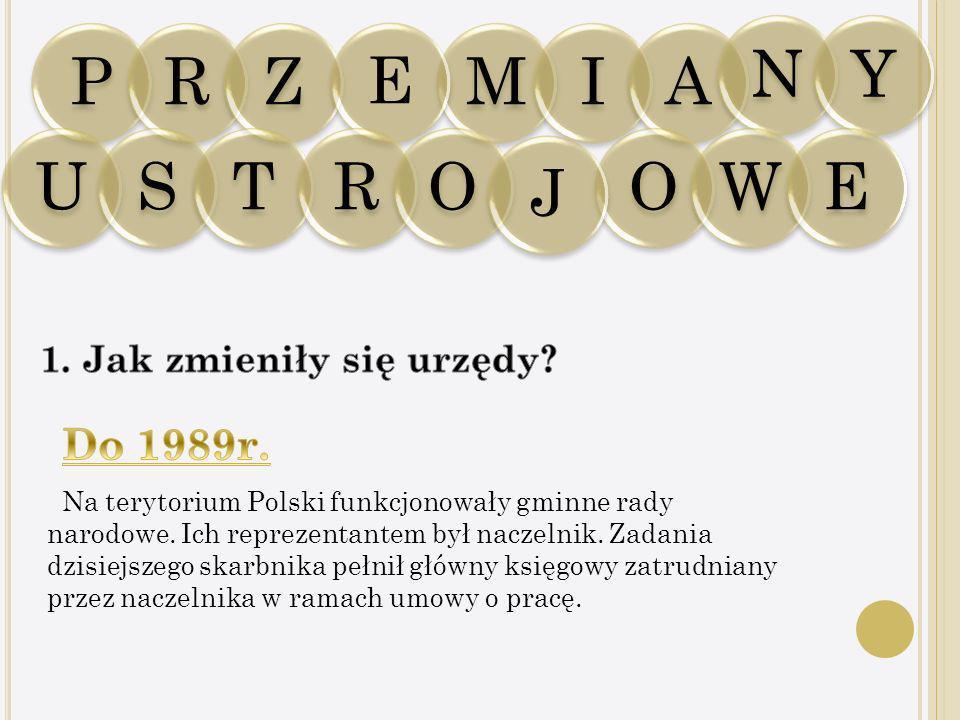 PRZ Na terytorium Polski funkcjonowały gminne rady narodowe. Ich reprezentantem był naczelnik. Zadania dzisiejszego skarbnika pełnił główny księgowy z