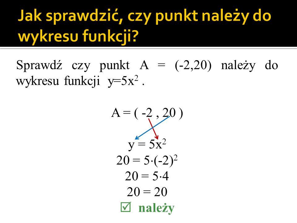 Sprawdź czy punkt A = (-2,20) należy do wykresu funkcji y=5x 2. A = ( -2, 20 ) y = 5x 2 20 = 5 (-2) 2 20 = 5 4 20 = 20 należy