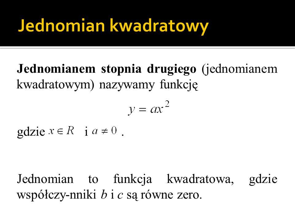 Jednomianem stopnia drugiego (jednomianem kwadratowym) nazywamy funkcję gdzie i. Jednomian to funkcja kwadratowa, gdzie współczy-nniki b i c są równe
