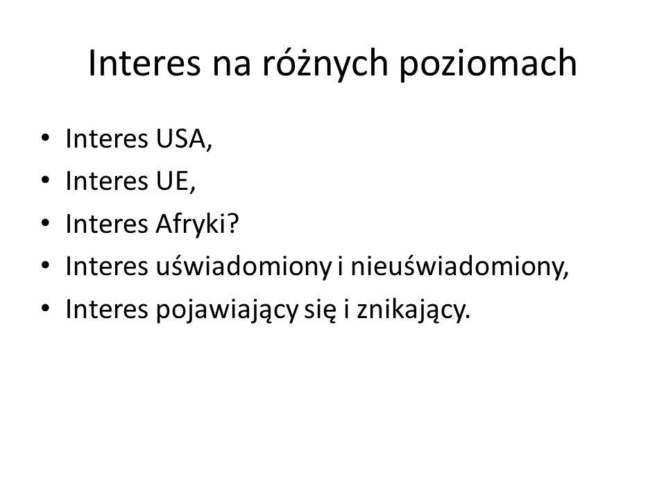 Interes na różnych poziomach Interes USA, Interes UE, Interes Afryki.