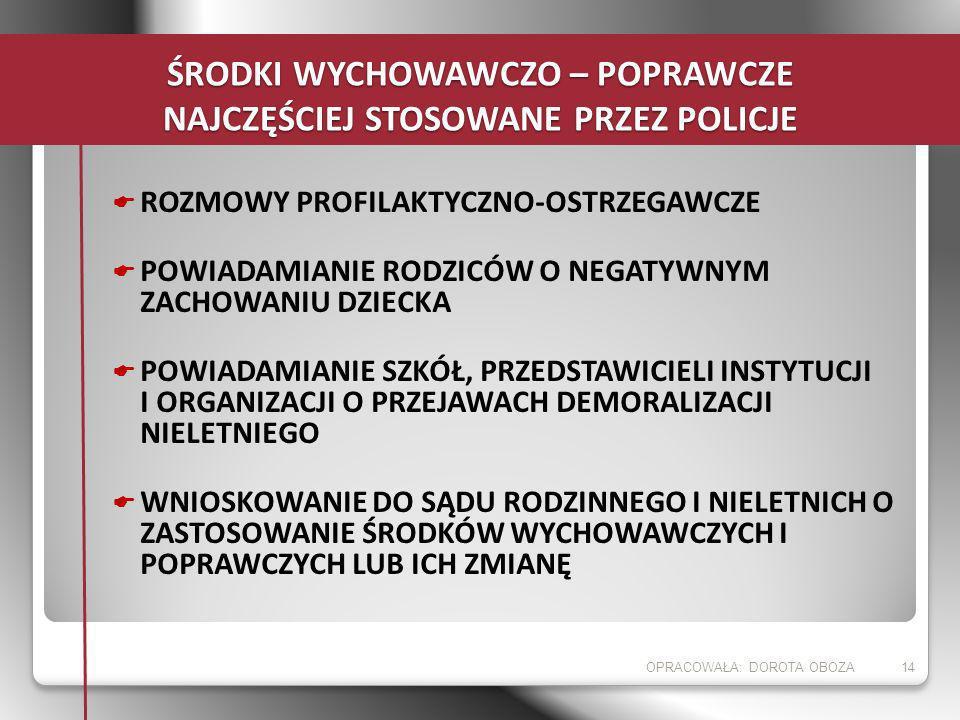 ŚRODKI WYCHOWAWCZO – POPRAWCZE NAJCZĘŚCIEJ STOSOWANE PRZEZ POLICJE ROZMOWY PROFILAKTYCZNO-OSTRZEGAWCZE POWIADAMIANIE RODZICÓW O NEGATYWNYM ZACHOWANIU