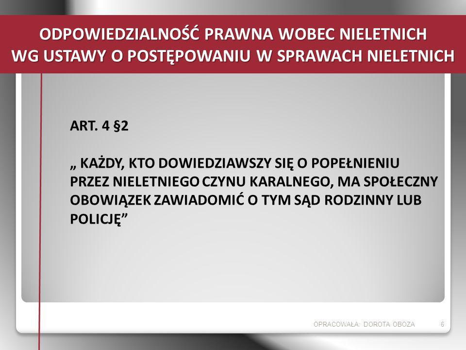 ART. 4 §2 KAŻDY, KTO DOWIEDZIAWSZY SIĘ O POPEŁNIENIU PRZEZ NIELETNIEGO CZYNU KARALNEGO, MA SPOŁECZNY OBOWIĄZEK ZAWIADOMIĆ O TYM SĄD RODZINNY LUB POLIC