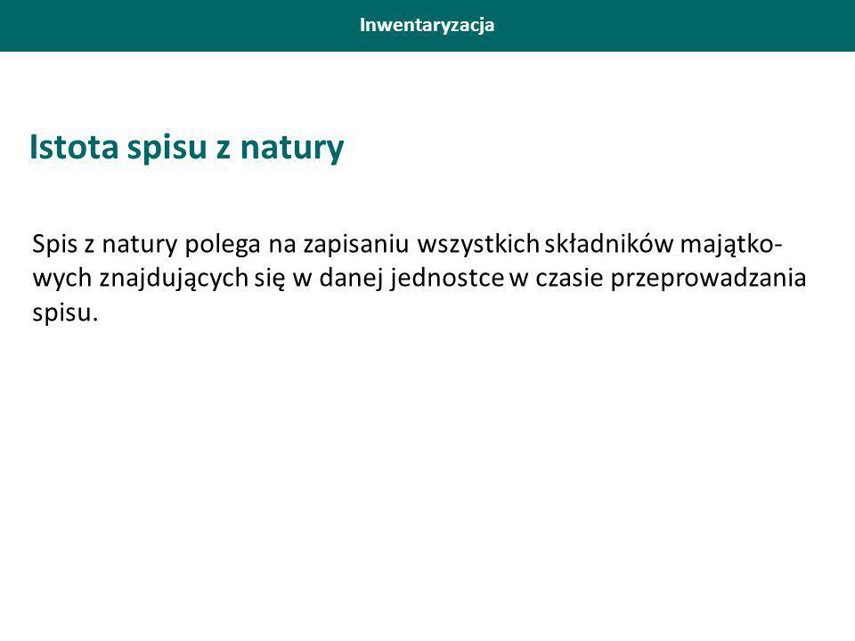 Istota spisu z natury Spis z natury polega na zapisaniu wszystkich składników majątko- wych znajdujących się w danej jednostce w czasie przeprowadzania spisu.