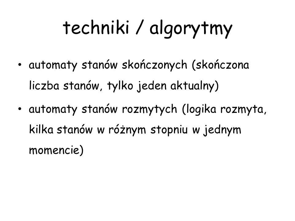 techniki / algorytmy automaty stanów skończonych (skończona liczba stanów, tylko jeden aktualny) automaty stanów rozmytych (logika rozmyta, kilka stan