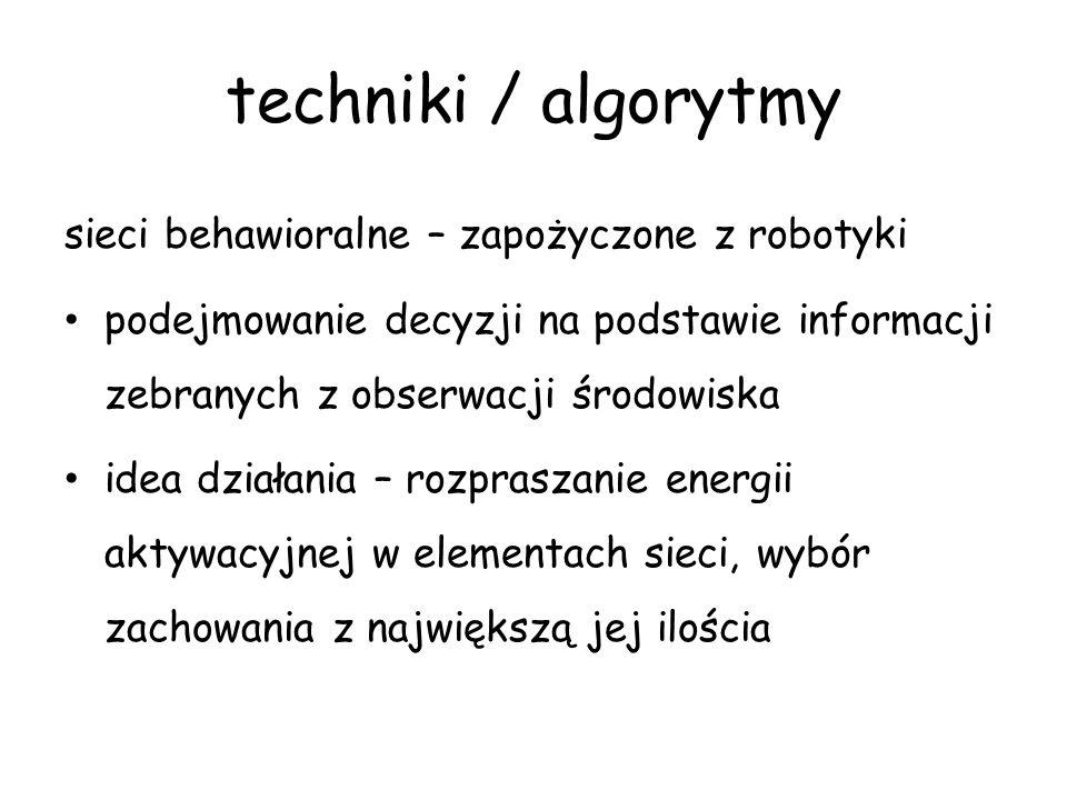 techniki / algorytmy sieci behawioralne – zapożyczone z robotyki podejmowanie decyzji na podstawie informacji zebranych z obserwacji środowiska idea d