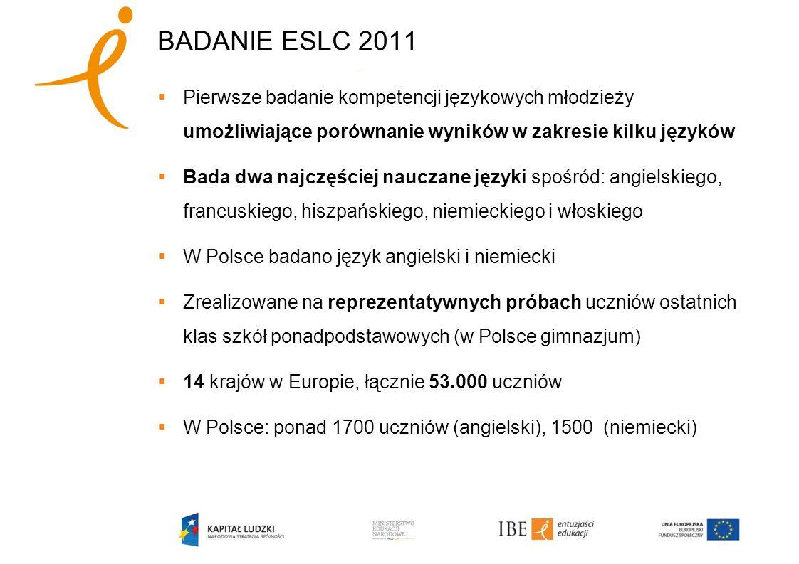BADANIE ESLC 2011 Pierwsze badanie kompetencji językowych młodzieży umożliwiające porównanie wyników w zakresie kilku języków Bada dwa najczęściej nauczane języki spośród: angielskiego, francuskiego, hiszpańskiego, niemieckiego i włoskiego W Polsce badano język angielski i niemiecki Zrealizowane na reprezentatywnych próbach uczniów ostatnich klas szkół ponadpodstawowych (w Polsce gimnazjum) 14 krajów w Europie, łącznie 53.000 uczniów W Polsce: ponad 1700 uczniów (angielski), 1500 (niemiecki)
