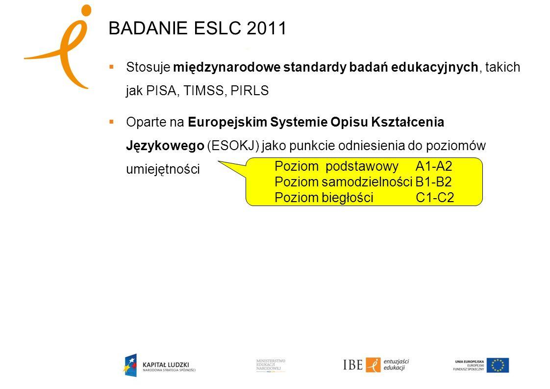 BADANIE ESLC 2011 Stosuje międzynarodowe standardy badań edukacyjnych, takich jak PISA, TIMSS, PIRLS Oparte na Europejskim Systemie Opisu Kształcenia Językowego (ESOKJ) jako punkcie odniesienia do poziomów umiejętności Poziom podstawowy A1-A2 Poziom samodzielności B1-B2 Poziom biegłości C1-C2