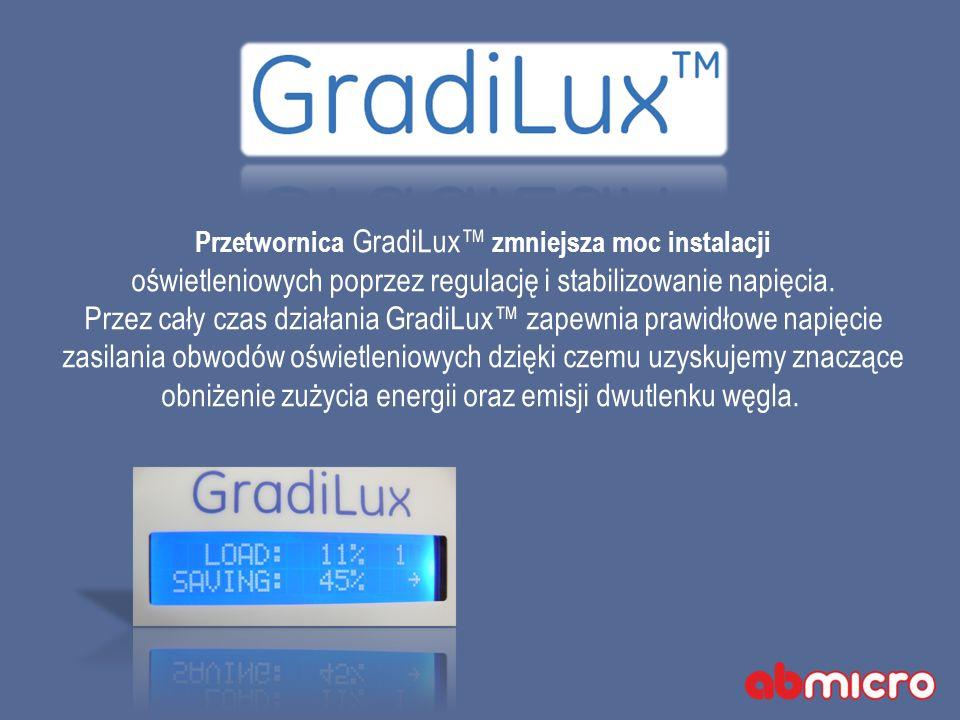 Przetwornica GradiLux zmniejsza moc instalacji oświetleniowych poprzez regulację i stabilizowanie napięcia.