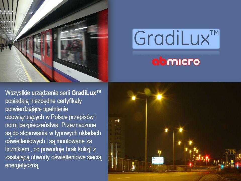 Wszystkie urządzenia serii GradiLux posiadają niezbędne certyfikaty potwierdzające spełnienie obowiązujących w Polsce przepisów i norm bezpieczeństwa.
