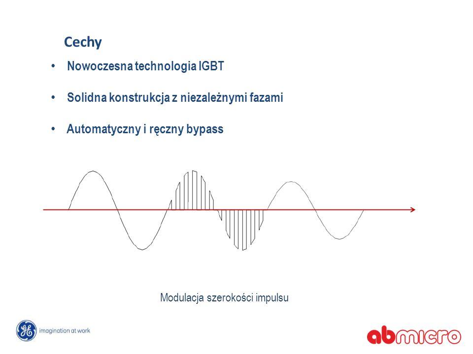 Nowoczesna technologia IGBT Solidna konstrukcja z niezależnymi fazami Automatyczny i ręczny bypass Modulacja szerokości impulsu Cechy