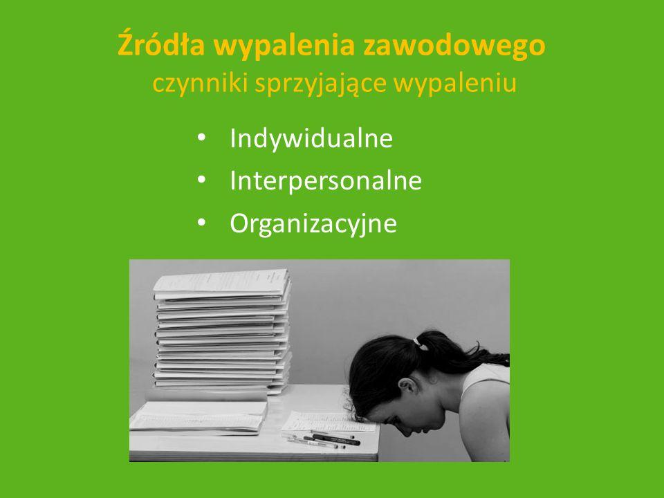 Źródła wypalenia zawodowego czynniki sprzyjające wypaleniu Indywidualne Interpersonalne Organizacyjne