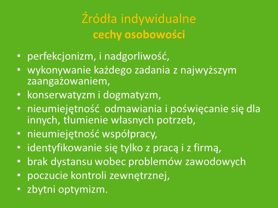 Źródła indywidualne cechy osobowości perfekcjonizm, i nadgorliwość, wykonywanie każdego zadania z najwyższym zaangażowaniem, konserwatyzm i dogmatyzm,