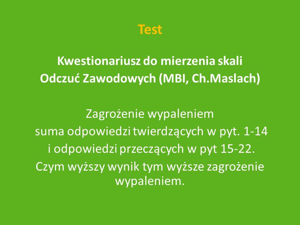 Test Kwestionariusz do mierzenia skali Odczuć Zawodowych (MBI, Ch.Maslach) Zagrożenie wypaleniem suma odpowiedzi twierdzących w pyt. 1-14 i odpowiedzi