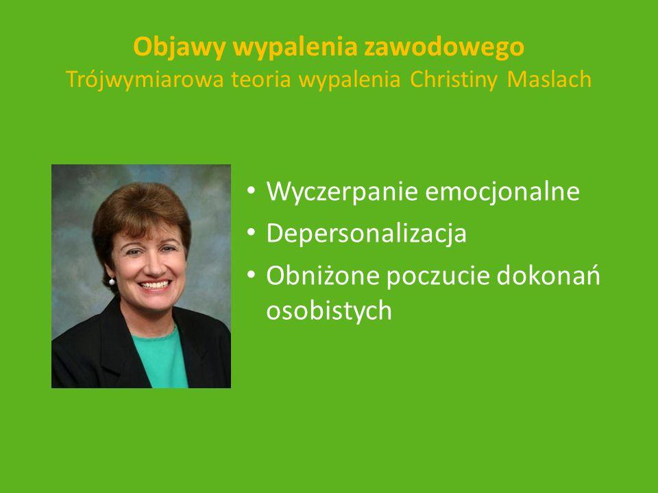 Objawy wypalenia zawodowego Trójwymiarowa teoria wypalenia Christiny Maslach Wyczerpanie emocjonalne Depersonalizacja Obniżone poczucie dokonań osobis