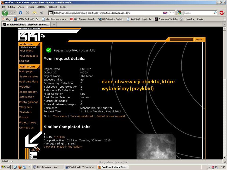 dane obserwacji obiektu, które wybraliśmy (przykład) Bogusław Malański