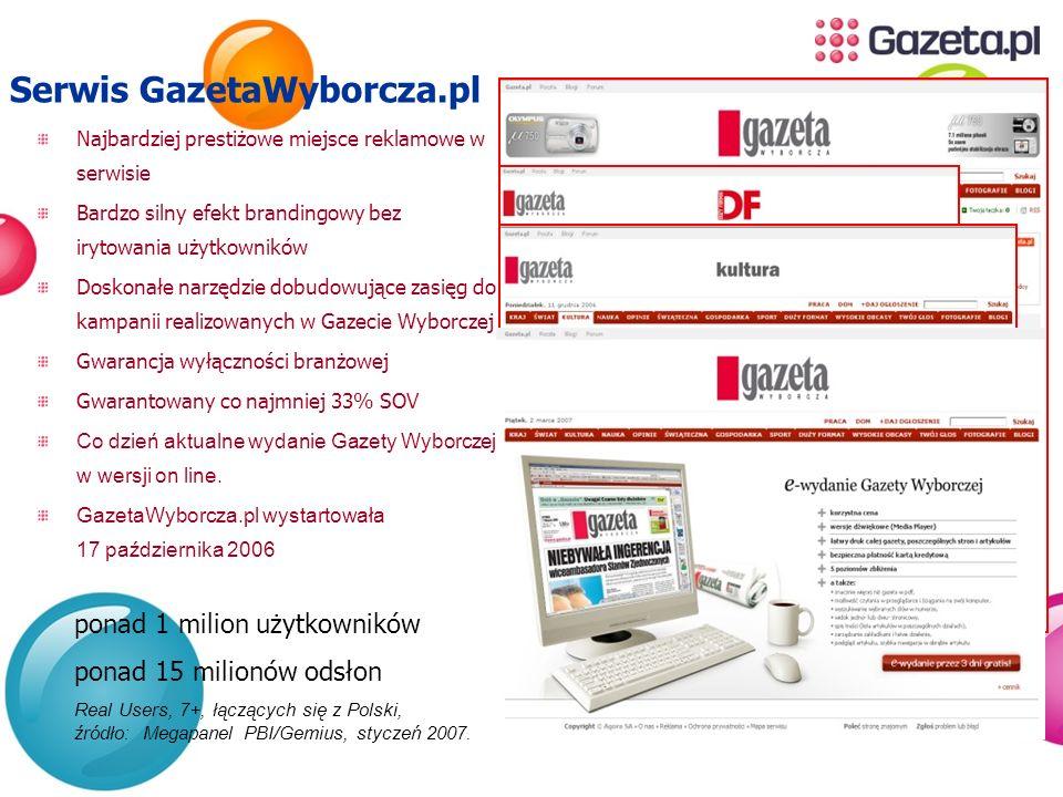 Serwis GazetaWyborcza.pl Najbardziej prestiżowe miejsce reklamowe w serwisie Bardzo silny efekt brandingowy bez irytowania użytkowników Doskonałe narz