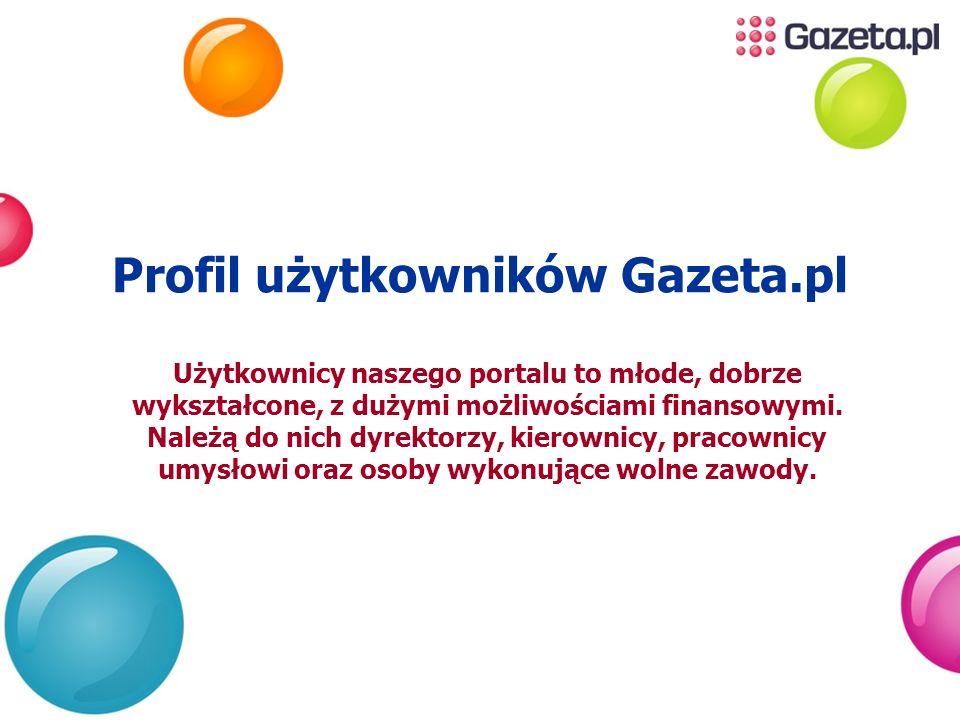 Profil użytkowników Gazeta.pl Użytkownicy naszego portalu to młode, dobrze wykształcone, z dużymi możliwościami finansowymi. Należą do nich dyrektorzy