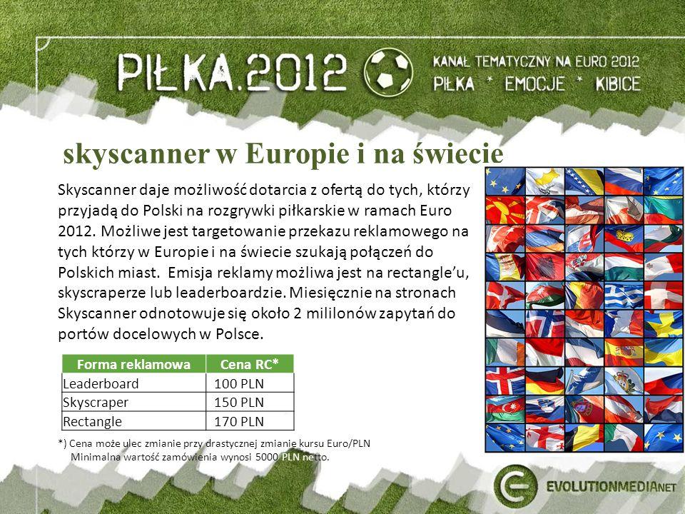 skyscanner w Europie i na świecie Skyscanner daje możliwość dotarcia z ofertą do tych, którzy przyjadą do Polski na rozgrywki piłkarskie w ramach Euro 2012.