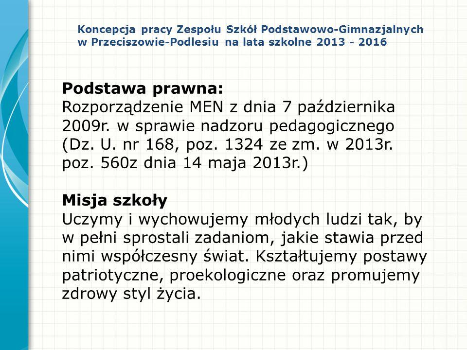 Podstawa prawna: Rozporządzenie MEN z dnia 7 października 2009r. w sprawie nadzoru pedagogicznego (Dz. U. nr 168, poz. 1324 ze zm. w 2013r. poz. 560z