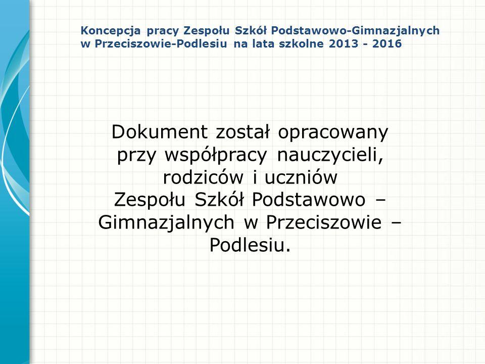 Dokument został opracowany przy współpracy nauczycieli, rodziców i uczniów Zespołu Szkół Podstawowo – Gimnazjalnych w Przeciszowie – Podlesiu. Koncepc