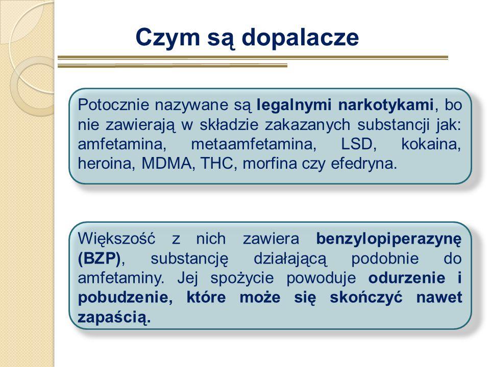 Czym są dopalacze Potocznie nazywane są legalnymi narkotykami, bo nie zawierają w składzie zakazanych substancji jak: amfetamina, metaamfetamina, LSD,
