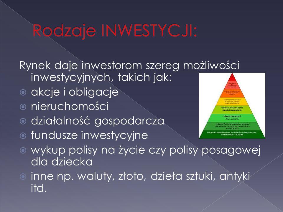 Rynek daje inwestorom szereg możliwości inwestycyjnych, takich jak: akcje i obligacje nieruchomości działalność gospodarcza fundusze inwestycyjne wyku