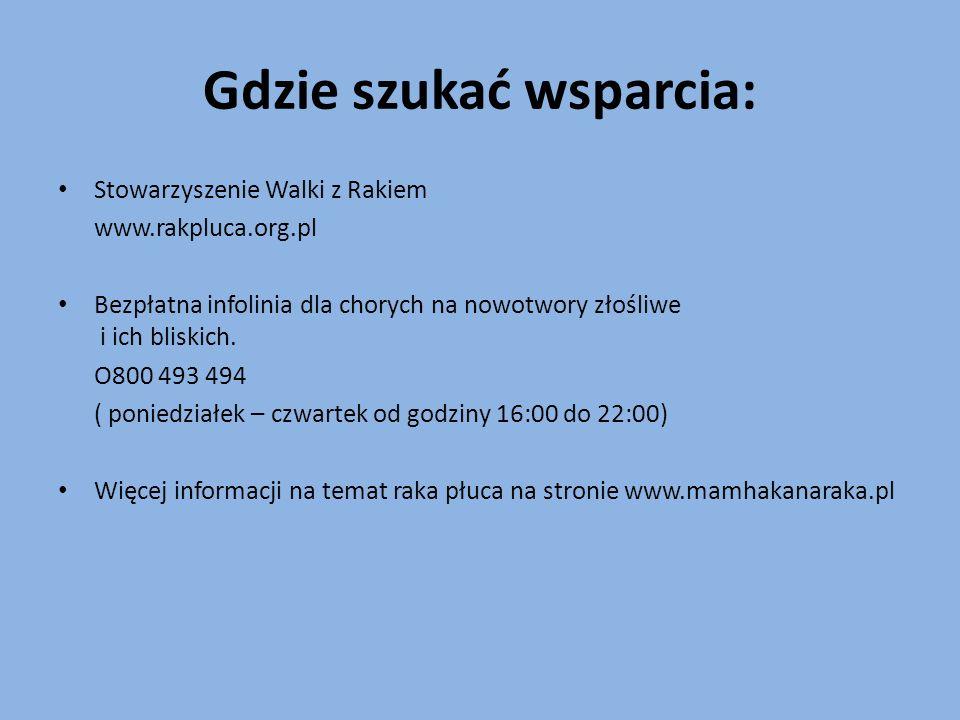 Gdzie szukać wsparcia: Stowarzyszenie Walki z Rakiem www.rakpluca.org.pl Bezpłatna infolinia dla chorych na nowotwory złośliwe i ich bliskich. O800 49