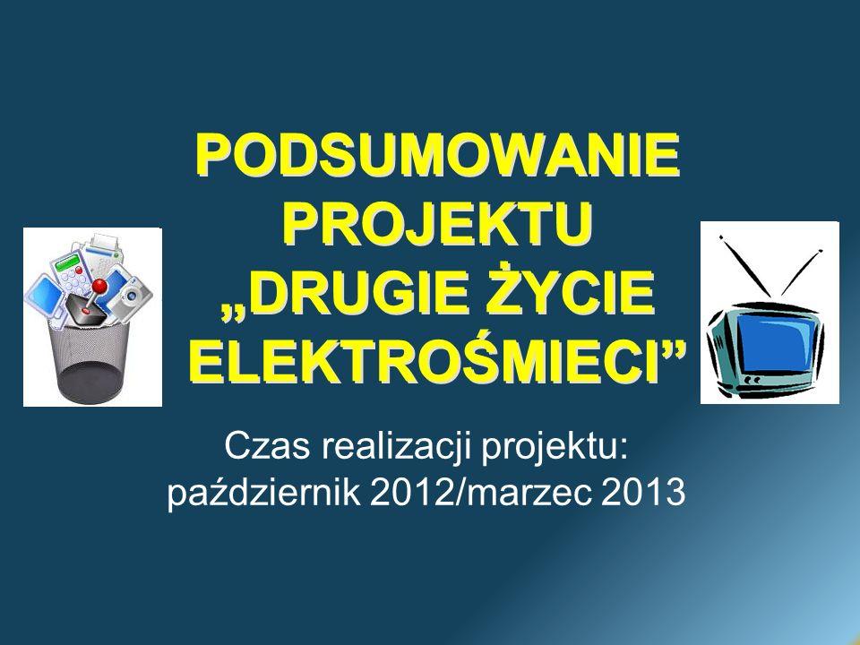 PODSUMOWANIE PROJEKTU DRUGIE ŻYCIE ELEKTROŚMIECI Czas realizacji projektu: październik 2012/marzec 2013