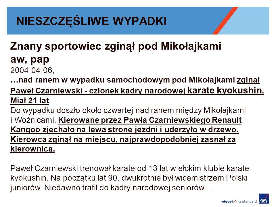 NIESZCZĘŚLIWE WYPADKI Znany sportowiec zginął pod Mikołajkami aw, pap 2004-04-06, …nad ranem w wypadku samochodowym pod Mikołajkami zginął Paweł Czarniewski - członek kadry narodowej karate kyokushin.