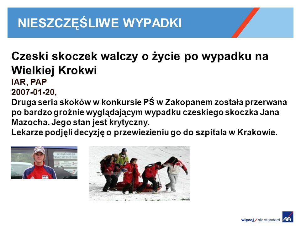 NIESZCZĘŚLIWE WYPADKI Czeski skoczek walczy o życie po wypadku na Wielkiej Krokwi IAR, PAP 2007-01-20, Druga seria skoków w konkursie PŚ w Zakopanem została przerwana po bardzo groźnie wyglądającym wypadku czeskiego skoczka Jana Mazocha.