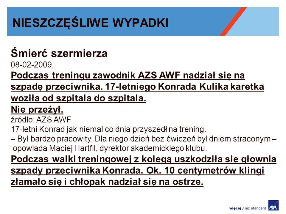 NIESZCZĘŚLIWE WYPADKI Śmierć szermierza 08-02-2009, Podczas treningu zawodnik AZS AWF nadział się na szpadę przeciwnika. 17-letniego Konrada Kulika ka
