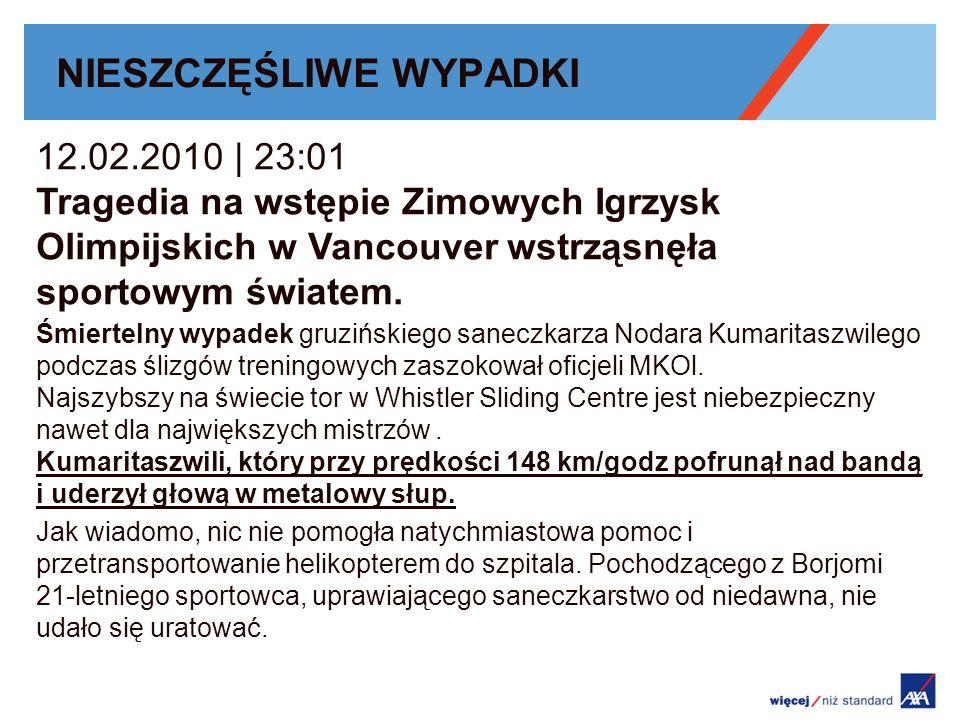NIESZCZĘŚLIWE WYPADKI 12.02.2010 | 23:01 Tragedia na wstępie Zimowych Igrzysk Olimpijskich w Vancouver wstrząsnęła sportowym światem.