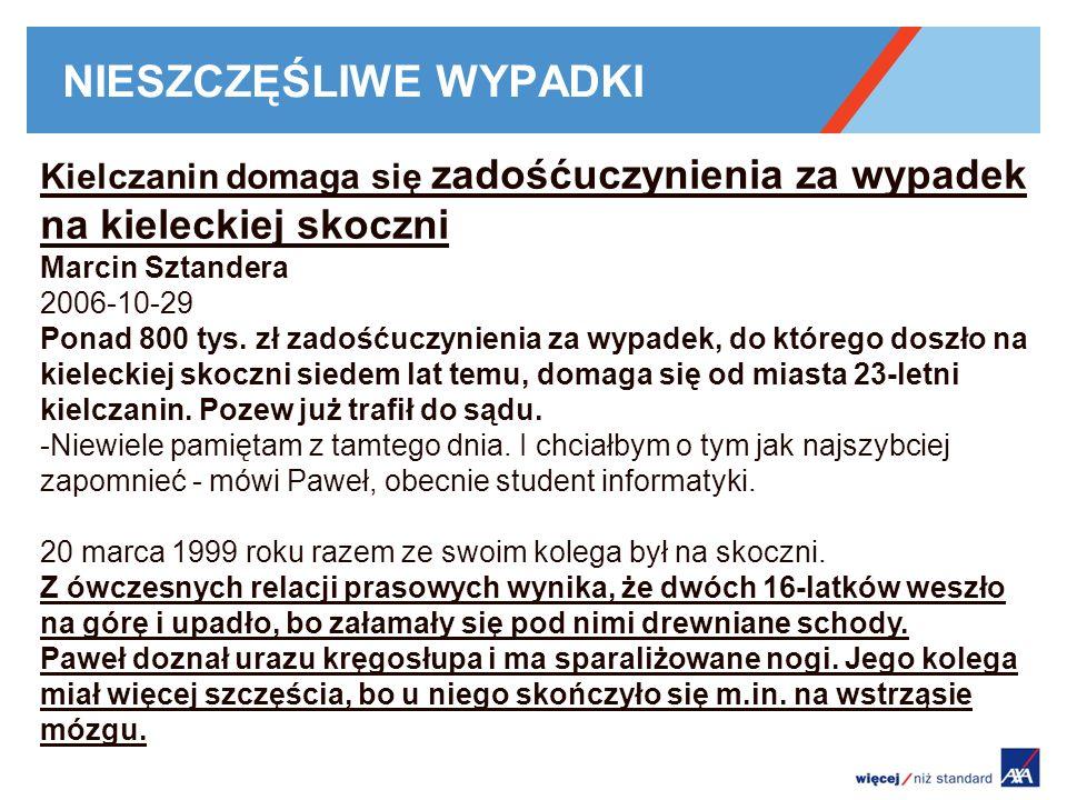 NIESZCZĘŚLIWE WYPADKI Kielczanin domaga się zadośćuczynienia za wypadek na kieleckiej skoczni Marcin Sztandera 2006-10-29 Ponad 800 tys. zł zadośćuczy