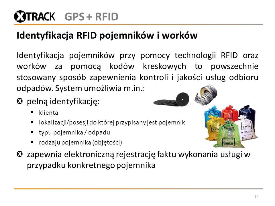 Identyfikacja RFID pojemników i worków Identyfikacja pojemników przy pomocy technologii RFID oraz worków za pomocą kodów kreskowych to powszechnie sto
