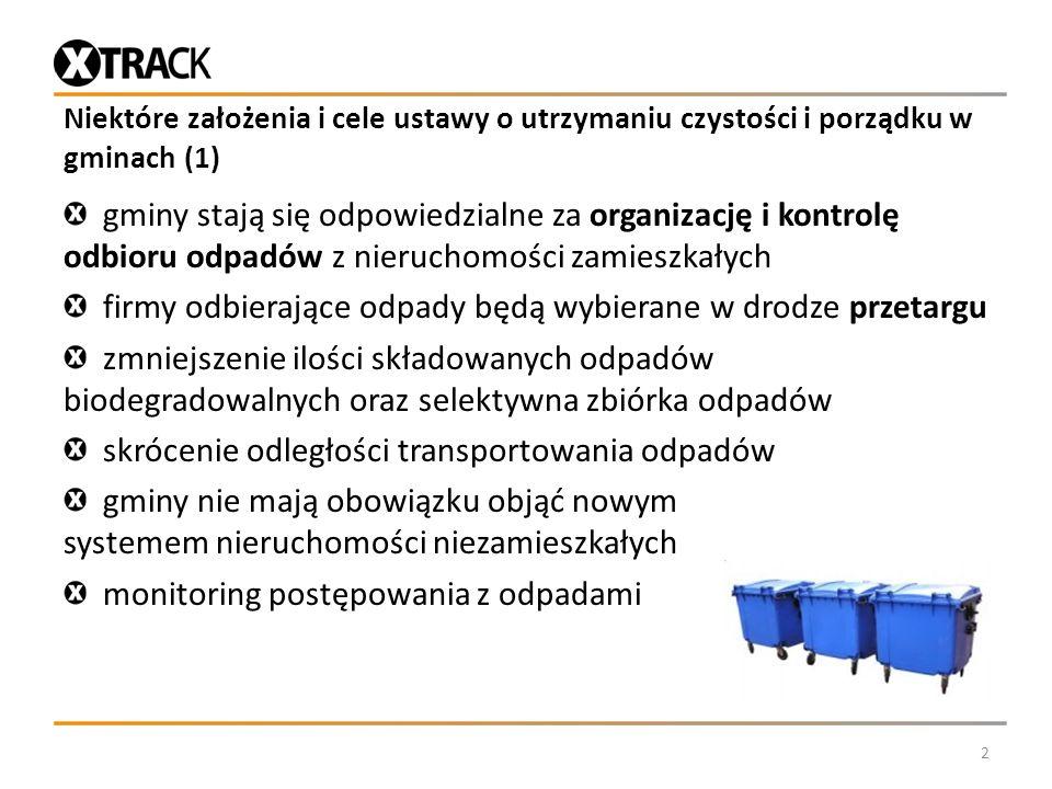 Niektóre założenia i cele ustawy o utrzymaniu czystości i porządku w gminach (1) gminy stają się odpowiedzialne za organizację i kontrolę odbioru odpa