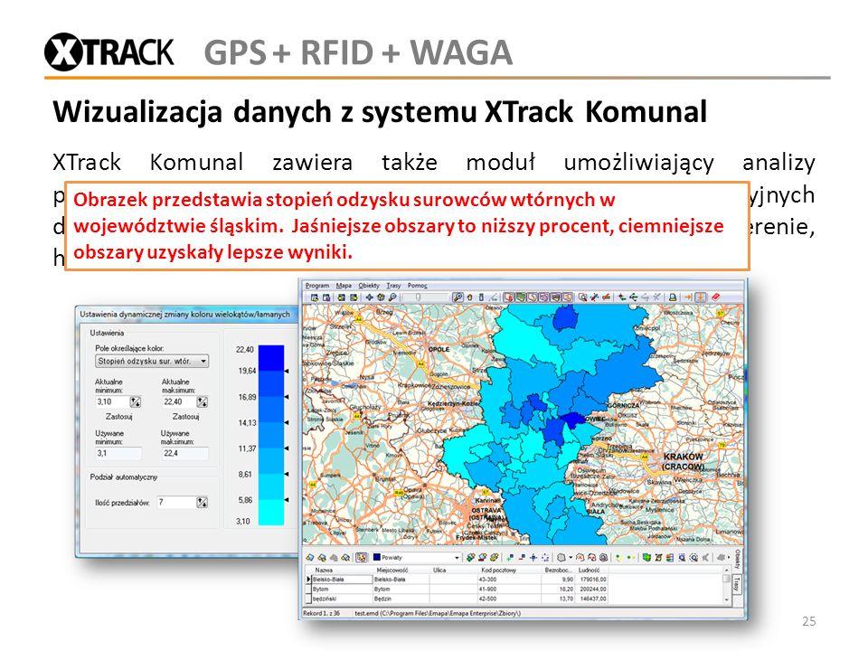 Wizualizacja danych z systemu XTrack Komunal XTrack Komunal zawiera także moduł umożliwiający analizy przestrzenne pozyskanych danych. Moduł bazuje na