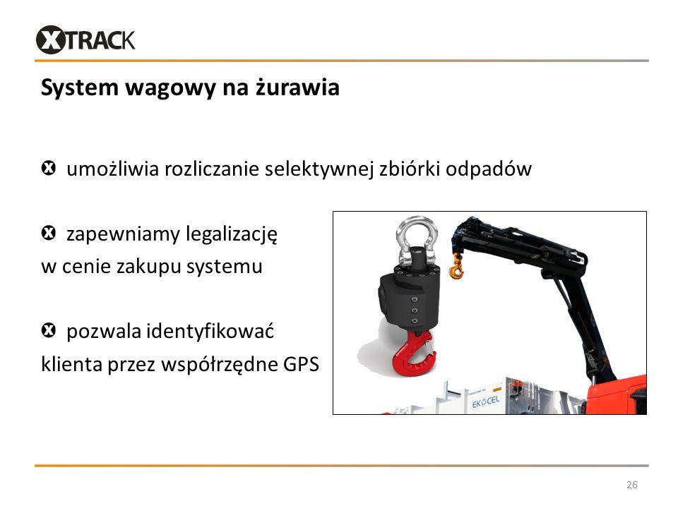 System wagowy na żurawia umożliwia rozliczanie selektywnej zbiórki odpadów zapewniamy legalizację w cenie zakupu systemu pozwala identyfikować klienta