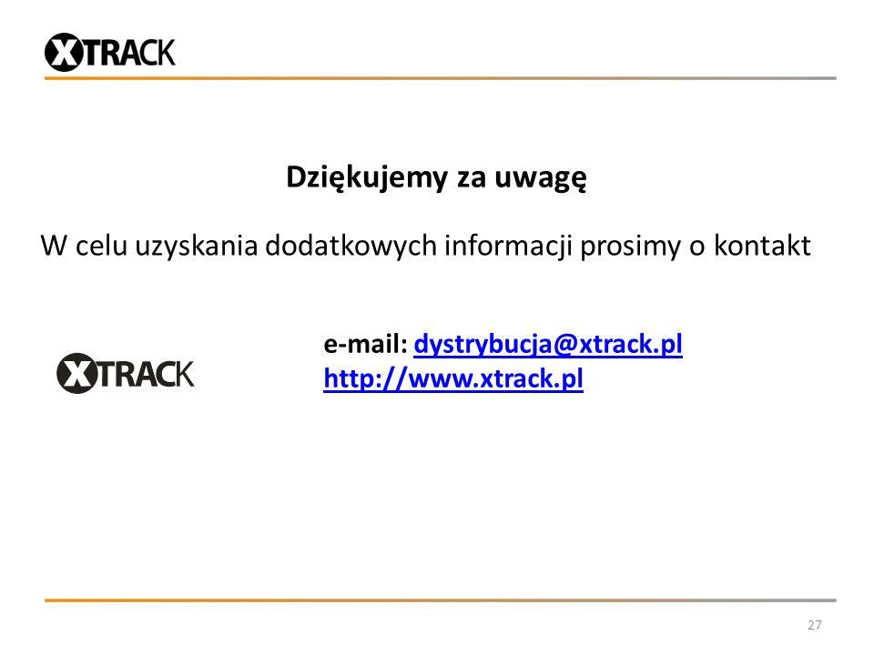 Dziękujemy za uwagę W celu uzyskania dodatkowych informacji prosimy o kontakt 27 e-mail: dystrybucja@xtrack.pldystrybucja@xtrack.pl http://www.xtrack.