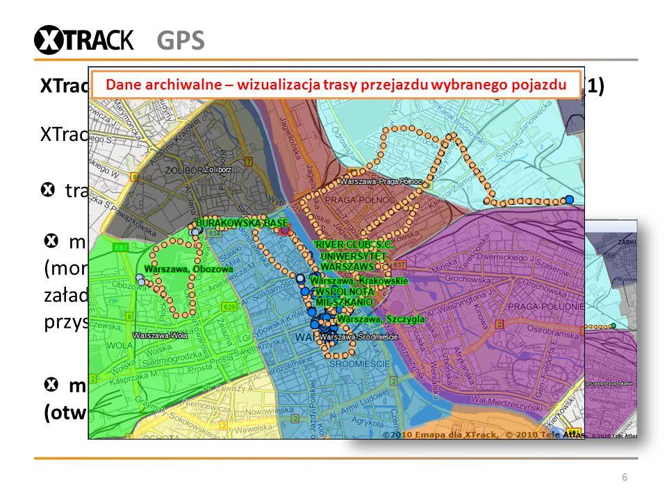 XTrack Komunal - monitorowanie pojazdów Wykonawców (1) XTrack w konfiguracji podstawowej pozwala monitorować: trasy poruszania się (lokalizacja, trasa