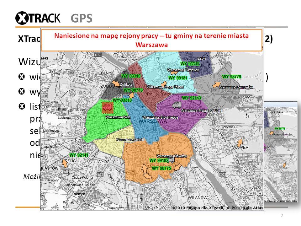 XTrack Komunal - monitorowanie pojazdów Wykonawców (2) Wizualizacja obszarów działania / zadań w postaci: wielokątów (w tym np. jednostek administracy