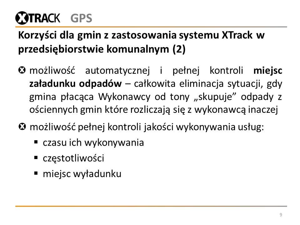 Korzyści dla gmin z zastosowania systemu XTrack w przedsiębiorstwie komunalnym (2) możliwość automatycznej i pełnej kontroli miejsc załadunku odpadów