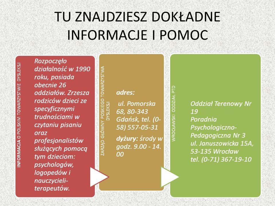 TU ZNAJDZIESZ DOKŁADNE INFORMACJE I POMOC INFORMACJA O POLSKIM TOWARZYSTWIE DYSLEKSJI Rozpoczęło działalność w 1990 roku, posiada obecnie 26 oddziałów