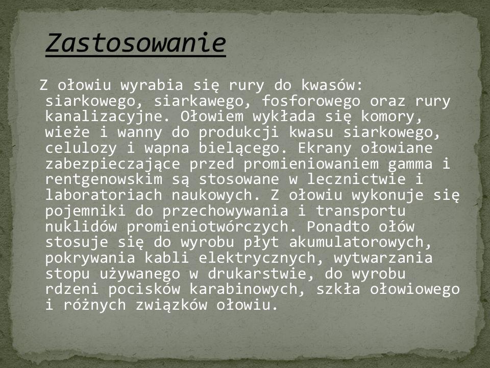 http://pl.wikipedia.org/wiki/O%C5%82%C3%B3w http://edunauka.pl/pch82olow.php http://www.weglowce.republika.pl/Olow.htm http://zadane.pl/zadanie/891670 http://pl.wikipedia.org/wiki/Historia_odkry%C4%87_pierw iastk%C3%B3w_chemicznych