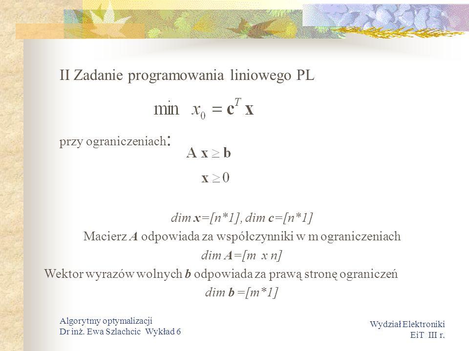 . Wydział Elektroniki EiT III r. Algorytmy optymalizacji Dr inż. Ewa Szlachcic Wykład 6 II Zadanie programowania liniowego PL przy ograniczeniach : di